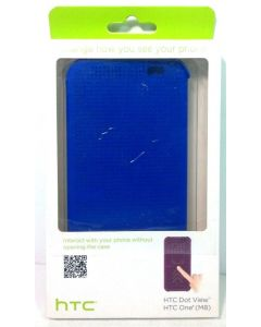 HTC New Smart Flip Authentic Dot View Case for HTC One M8 Phone - Blue