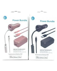At&t Power Bundle Lightning Charge Sync Cable Wall Car Charger For Apple Devices