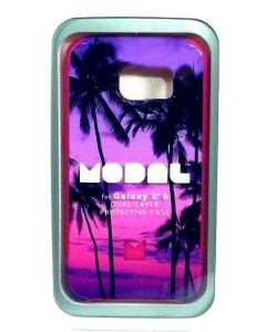 Modal Hard Slim Bumper Protection Case For Samsung Galaxy S6 - Floral Purple
